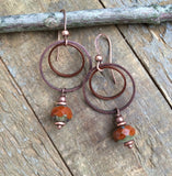 Burnt Orange Earrings, Burnt Orange Jewelry, Orange Hoop Earrings