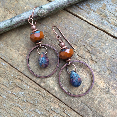 Burnt Orange and Copper Teardrop Earring