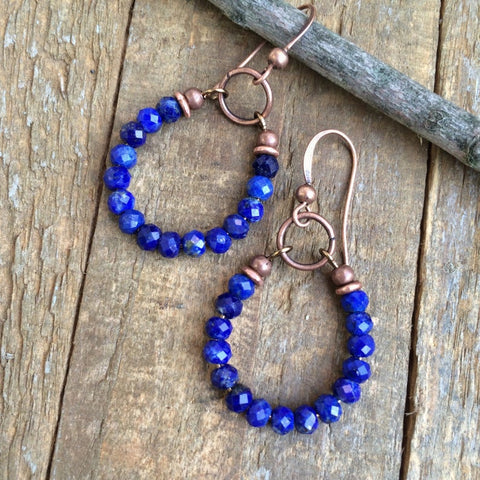 Lapis Lazuli and Copper Hoop Earrings