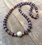 Rustic, earthy Tibetan Dzi agate necklace with antiqued copper accents
