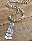 Aqua Terra jasper necklace with rustic silver pendant