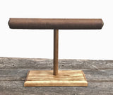 Jewelry Display, Bracelet Stand, Bracelet Holder, T-Bar Stand, Jewelry Storage, Wood Stand, Brown Floral Suede