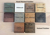 rustica wooden display stands color swatches stains hand painted options