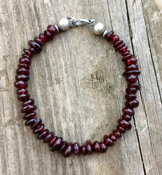 Red garnet bracelet with antiqued silver accents
