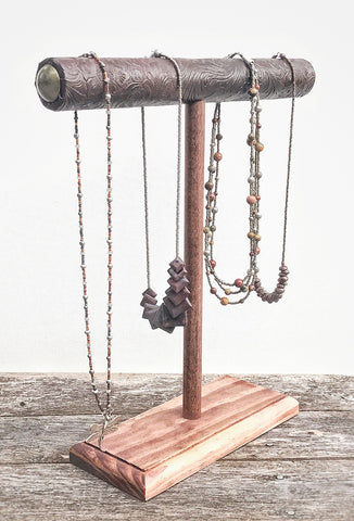 Jewelry Display, Necklace Holder, Necklace Stand, T-Bar Stand, Jewelry Storage, Bracelet Stand, Wood Jewelry Stand, Brown Western Tooled Vinyl