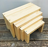 Wood Display Risers, Stacking Product Display, Compact Pedestal Craft Show Display, Retail Jewelry Pedestal, Plant Stand, Set of 4