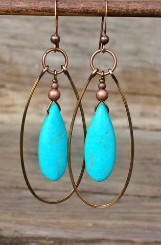 Turquoise and Copper Hoop Earrings