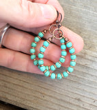 Turquoise Hoop Earrings, Copper and Turquoise Handmade Jewelry