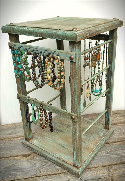 rotating jewelry stand display organizer wood swamp