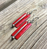 Red Enameled Earrings with Oxidized Silver Dangle