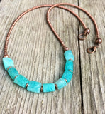 Raw Stone Necklace, Blue Raw Stone Jewelry, Boho Beaded Stone Necklace, Bohemian Necklace
