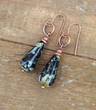 Black Teardrop Earrings, Earthy Black and Copper Earrings