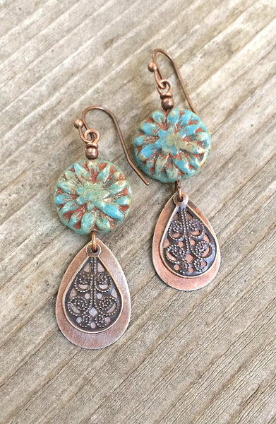 Blue Bohemian Earrings, Blue Flower Jewelry, Copper Earrings