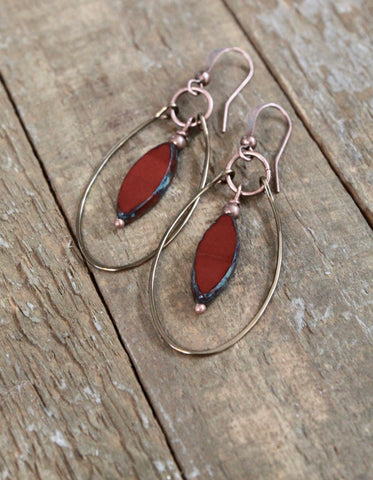 burnt orange copper hoop earrings