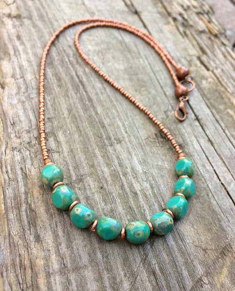 Turquoise Czech glass necklace, blue green jewelry, beaded necklace