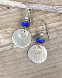 Cobalt Blue and Silver Dangle Earrings with Ethnic Coin Accent