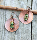 green turquoise and copper earrings