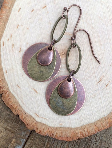 copper boho earrings