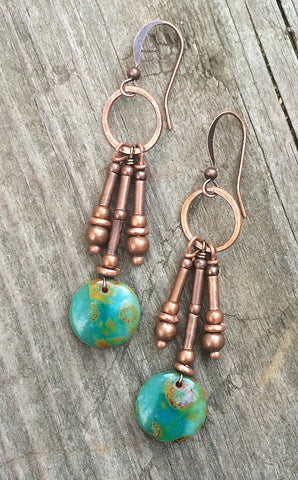 Copper green dangle drop earrings, boho jewelry