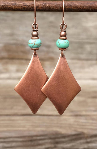 Copper and Turquoise Geometric Dangle Earrings