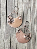 Rustic Copper Earrings Spiral Accent unique