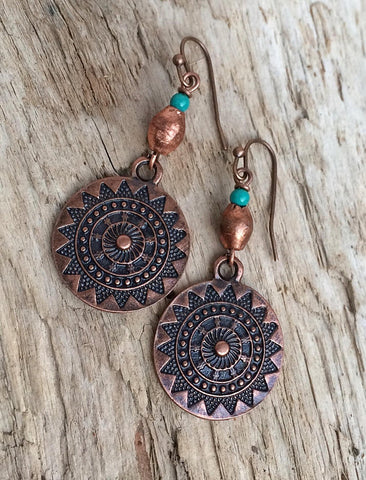Copper and Turquoise Southwestern Dangle Earrings