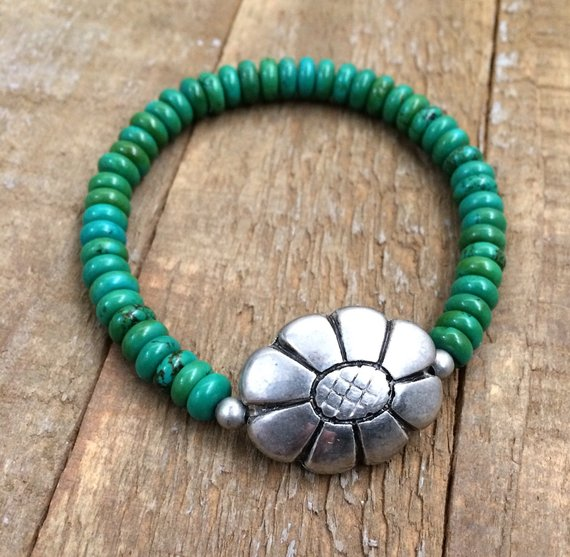 green turquoise bead stretch bracelet, silver flower jewelry