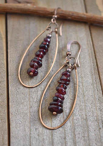 Garnet jewelry, garnet earrings, January birthstone jewelry, boho jewelry, bohemian jewelry, boho earrings, hoop earrings, copper jewelry
