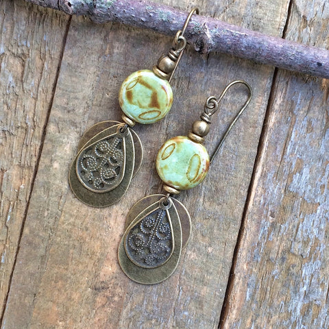 Earthy Green and Brass Dangle Earring