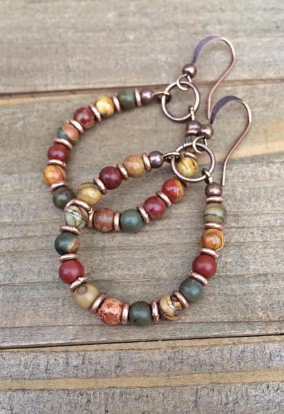 Red Creek Jasoer Earrings, Bohemian Earrings, Boho Hoop Earrings, Colorful Earrings