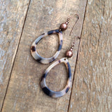 Tortoise Shell and Copper Teardrop Earring