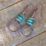 Green Stacked Czech Glass and Copper Earring
