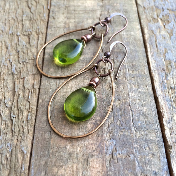 Green Czech Glass Teardrop Hoop Earrings