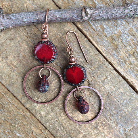 Rustic Red Czech Glass and Copper Earrings