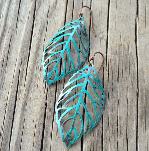 Turquoise Patina Leaf Cutout Earring