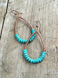 Turquoise and copper hoop earrings, boho jewelry