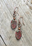 red leaf nature earrings