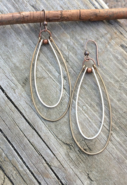 long hoop copper silver earrings