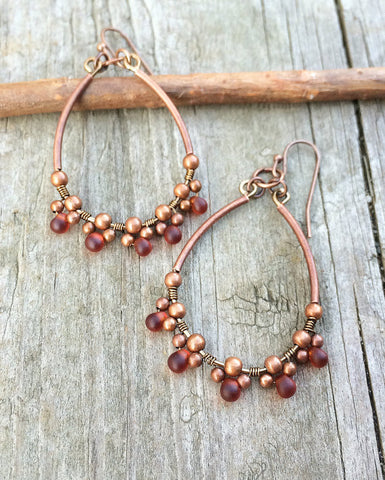Red Teardrop Copper Hoop Earrings