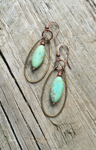 Green Turquoise and Copper Hammered Dangle Hoop Earrings