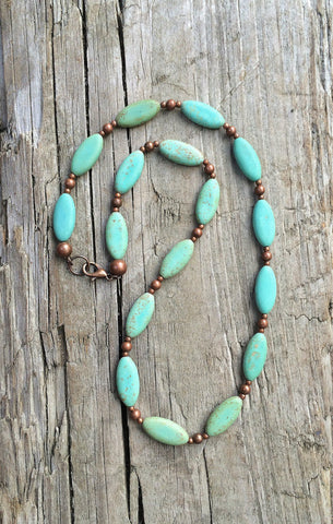 Green Turquoise Necklace, Southwestern Inspired Turquoise Necklace with Copper Accents