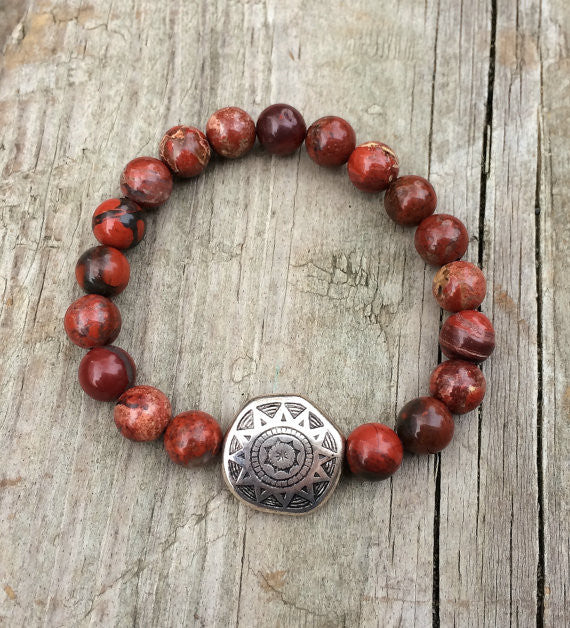 Silver Red Granite : Red stone and silver bracelet southwestern jewelry