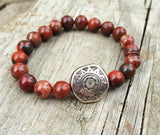 Red Stone and Silver Bracelet, Southwestern Red Jewelry