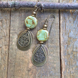 Spring Green Czech Glass and Brass Drop Earrings