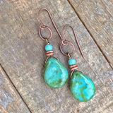 Green Czech Glass and Turquoise Teardrop Earrings