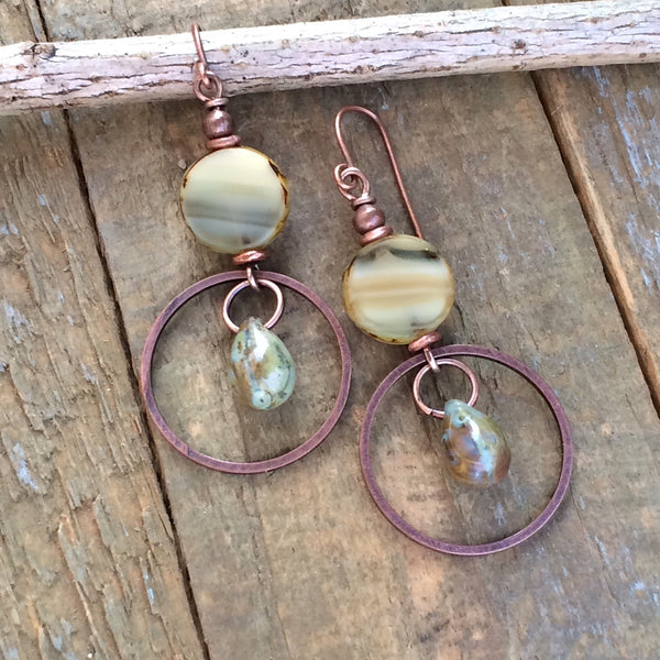 Beige Czech Glass Drop and Copper Earrings