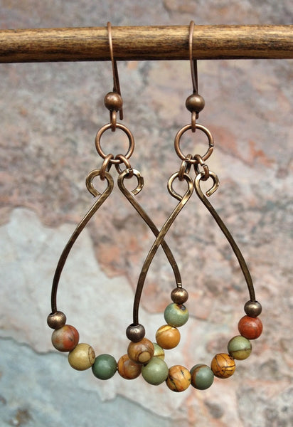Jasper Stone hoop earrings