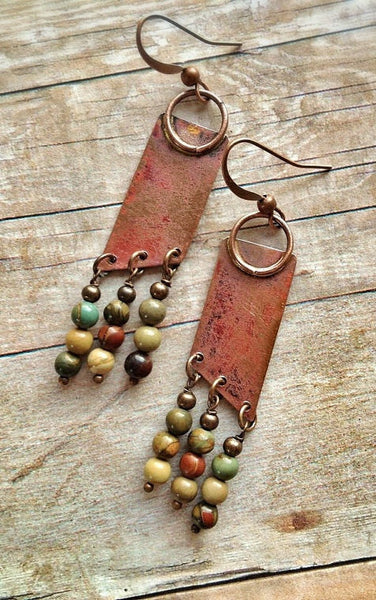 Geometric Boho Copper Earrings with Natural Stone Dangles