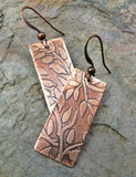 Leaf Copper Etched Earrings