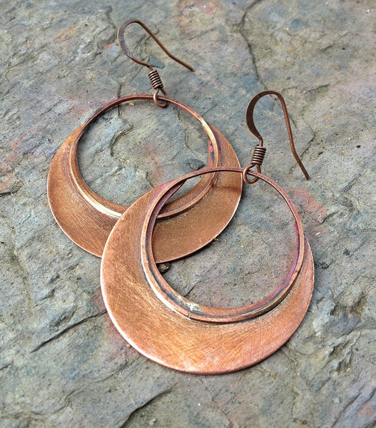 Rustic Copper Circle Hoop Earrings